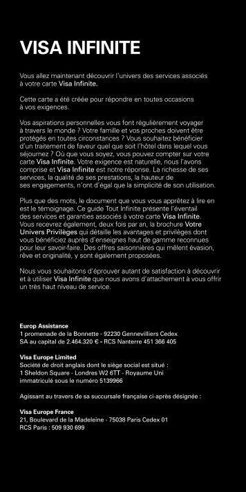 Télécharger la notice Carte Visa Infinite 2013 - HSBC