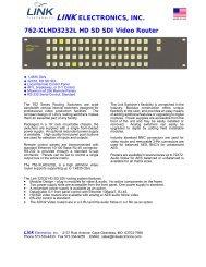 LINK ELECTRONICS, INC. 762-XLHD3232L HD SD SDI Video Router