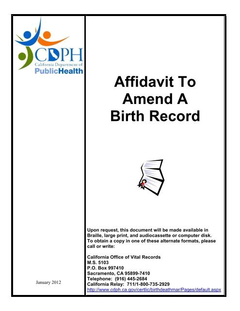 Affidavit To Amend A Birth Record - California Department of