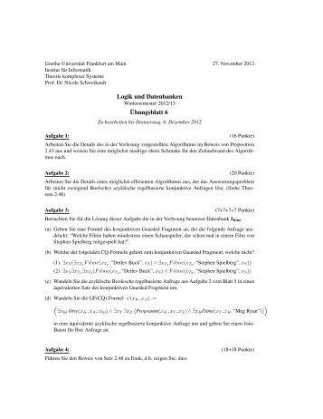 Übungsblatt 6 - Theorie komplexer Systeme - Goethe-Universität