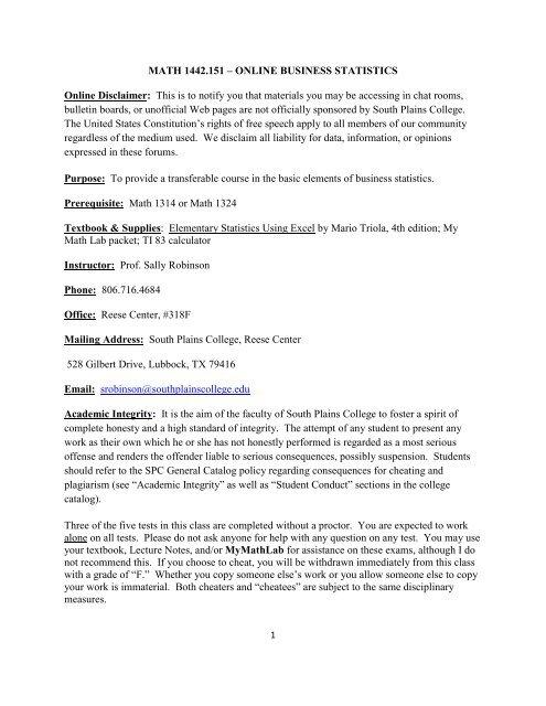 MATH 1442 - South Plains College