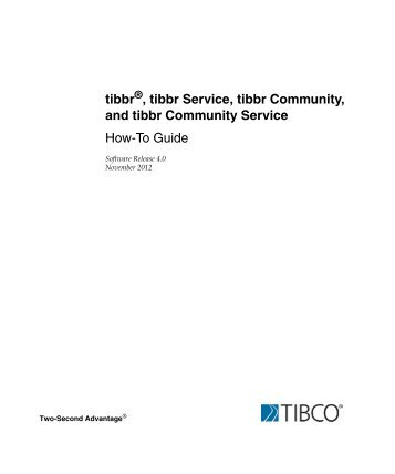 tibbr and tibbr Service How-To Guide - TIBCO Product Documentation