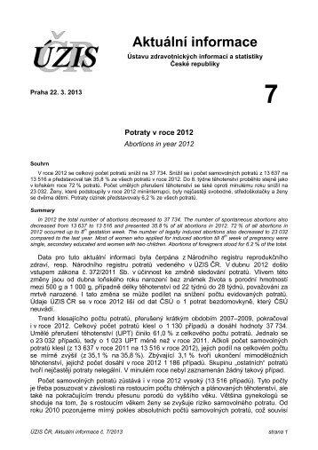 Aktuální informace č. 7/2013 - ÚZIS ČR