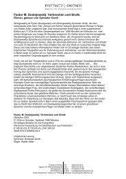 Fjodor M. Dostojewskij: Verbrechen und Strafe - Prittwitz & Partner