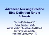 Advanced Nursing Practice Eine Definition für die ... - Swiss ANP