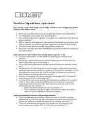 Benefits of hip and knee replacement - Biomet