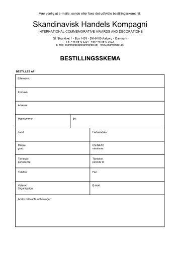 bestillingsskema - Skandinavisk Handels Kompagni