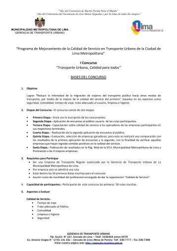 Programa de Mejoramiento de la Calidad de Servicio en Transporte ...