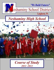 Neshaminy High School Course of Study 2011 -2012