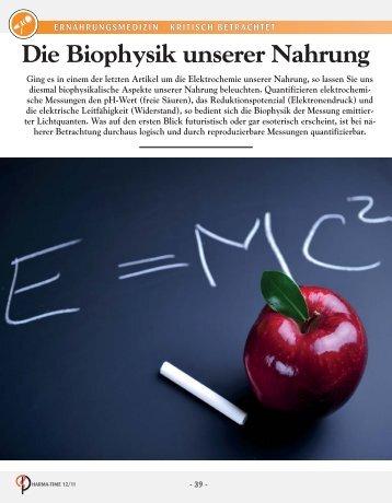 Die Biophysik unserer Nahrung - Cogito Gesundheitsverlag