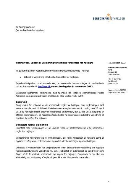 Høring vedr. udkast til vejledning til tekniske forskrifter for højlagre 1