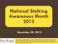 Stalking & Sexual Assault - the National Center for Victims of Crime