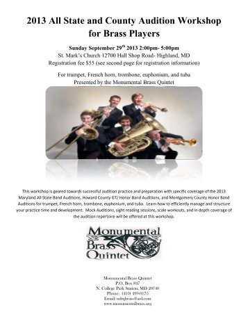 2013 All State and County Audition Workshop - Monumental Brass ...