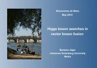 Higgs boson searches in vector boson fusion - rencontres de blois