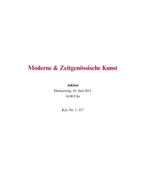 Moderne & Zeitgenössische Kunst - Galerie Fischer Auktionen AG
