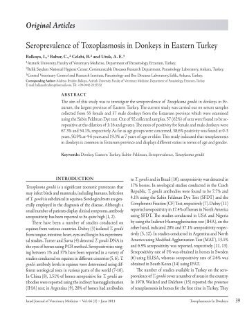 Seroprevalence of Toxoplasmosis in Donkeys in Eastern Turkey