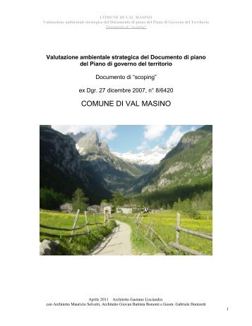 Valutazione ambientale strategica - Documento di scoping VAL ...