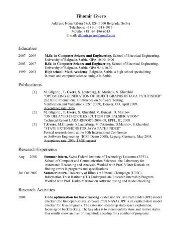 Tihomir Gvero - Lab for Automated Reasoning and Analysis - LARA ...