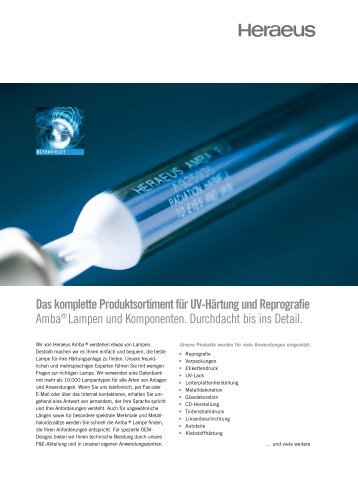 Das komplette Produktsortiment für UV-Härtung und Reprografie ...