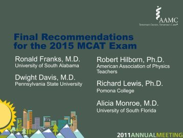 Final Recommendations for the 2015 MCAT Exam - AAMC's ...