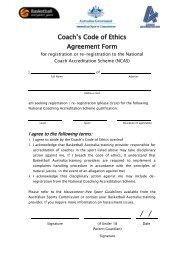 Coach's Code of Ethics Agreement Form - Basketball Australia