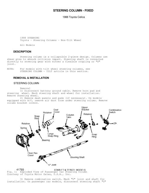 steering column fixed pdf - CelicaTech