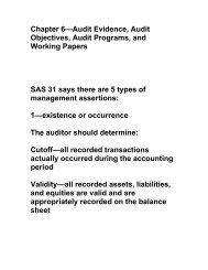 Chapter 6—Audit Evidence, Audit Objectives, Audit Programs, and ...