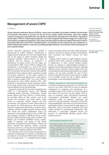 Seminar Management of severe COPD - lcbaxterlibrary