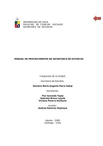 manual de procedimientos - Universidad de Chile