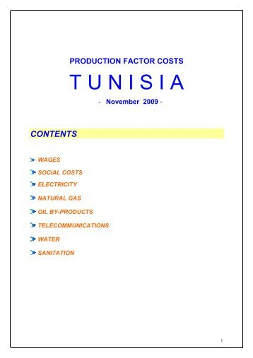 factors' costs - Invest in Tunisia, The Foreign Investment Promotion ...
