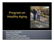 Program on Healthy Aging Presentation (pdf - School of Rural Public ...