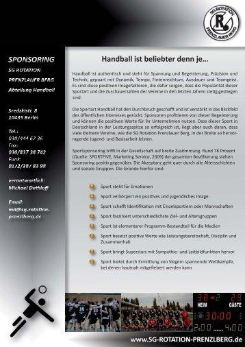 Handball ist beliebter denn je… - SG rotation