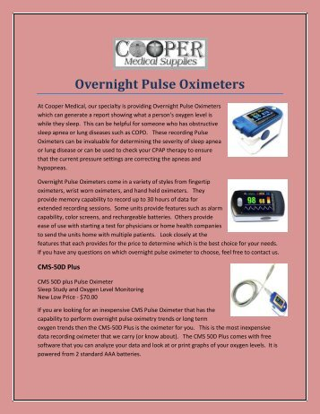 Overnight Pulse Oximeters