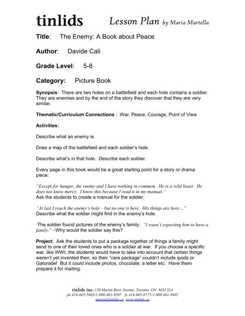 Lesson Plan By Maria Martella Title The Enemy A Book Tinlids