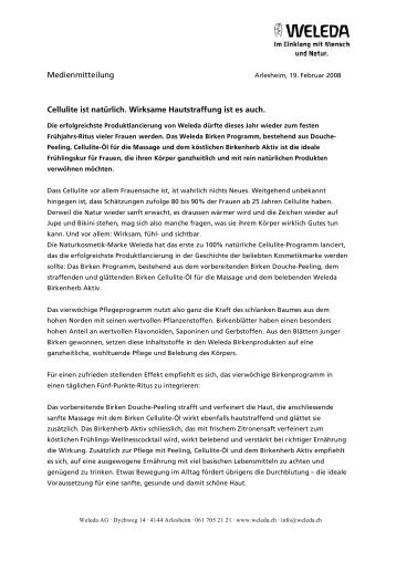 Medienmitteilung Birken Programm - Weleda