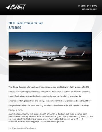 2000 Global Express for Sale S/N 9010 - Business Air Today