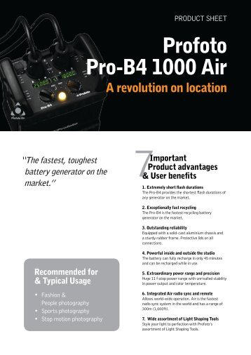 Product Sheet for the Pro-B4 - Profoto