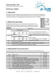 Network Slave NSc INSTALLATION 1. Sikkerhed ... - Klima Design A/S