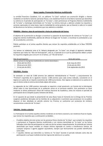 BASES DEL SORTEO- ENVIO DE DINERO AL EXTERIOR ... - la Caixa