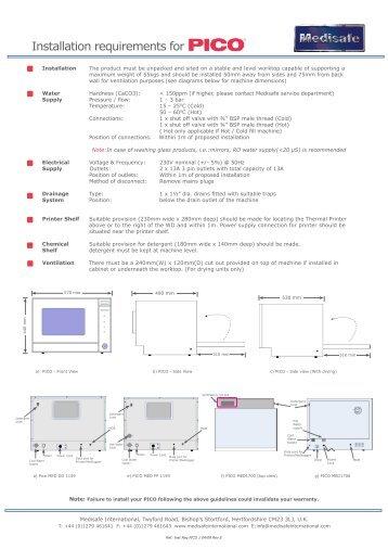 PICO Installation Requirements - PROFI - dental equipment