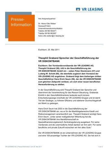Theophil Graband Sprecher der Geschäftsführung der VR ...
