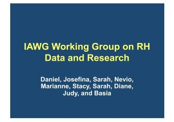 IAWG Working Group on RH Data and Research