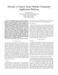 Towards a Context Aware Mobile Community Application Platform