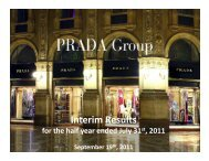 Interim Results - Prada Group
