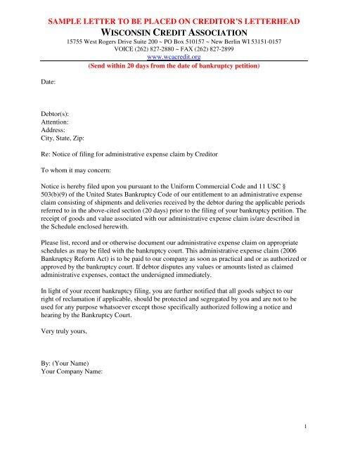 administrative claim sample letter wisconsin credit association
