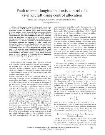 Fault tolerant longitudinal-axis control of a civil aircraft using ... - Ibcast