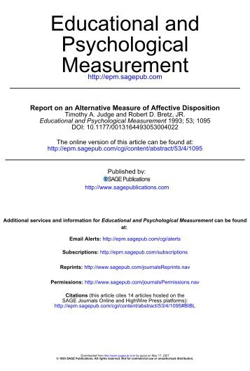 Measurement Psychological Educational and - Timothy A. Judge