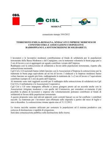 MODENA comunicato stampa 19/6/2012 ... - CGIL Modena