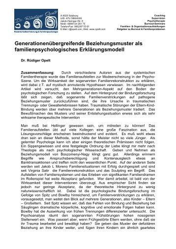 Generationenübergreifende Beziehungsmuster ... - Dr. Rüdiger Opelt
