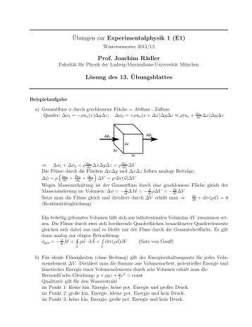 Ubungen zur Experimentalphysik 1 - Fakultät für Physik - Ludwig ...